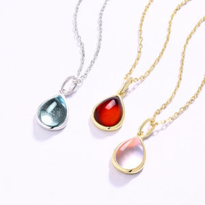 9x7mm Pear Garnet/Topaz/Quartz Silver Pendant
